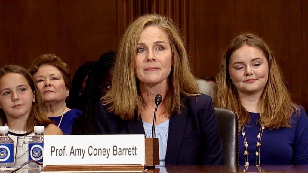 Judge Amy Coney Barrett during a Senate confirmation hearing